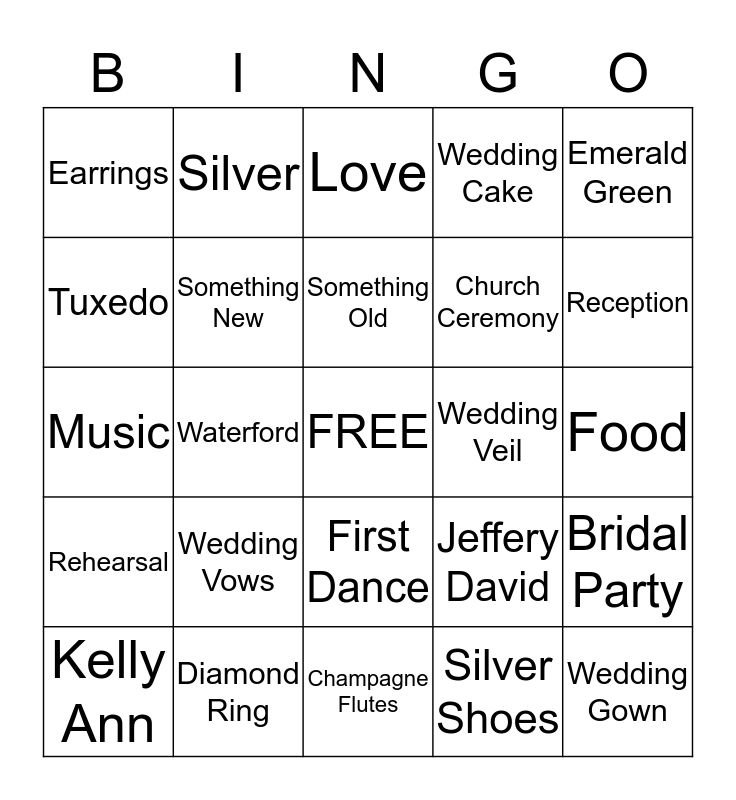 KELLY'S BRIDAL BINGO  Bingo Card