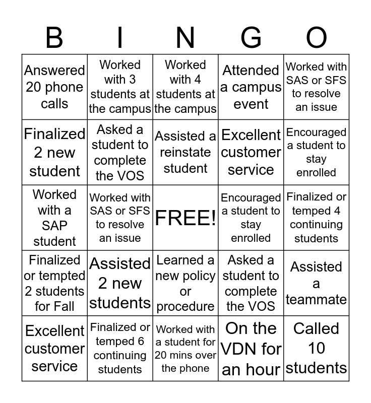 SAS/SFS Bingo Card