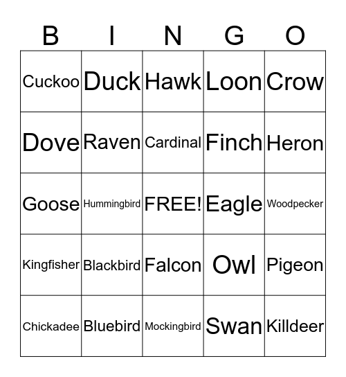 BIRD BINGO!! Bingo Card