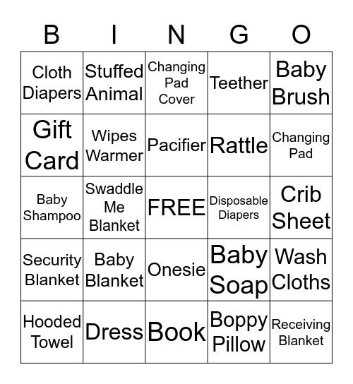 Brittany's Baby Shower Bingo Card