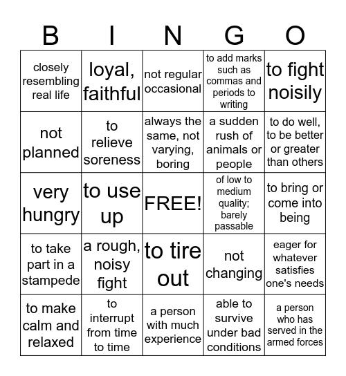 Book 6 Lesson 7 Bingo Card