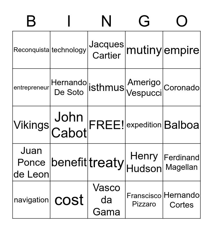 Explorer Bingo Card