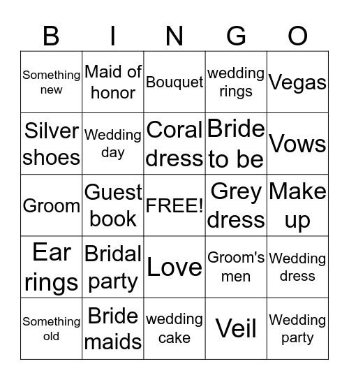 Jackie Bridal Shower Bingo Card
