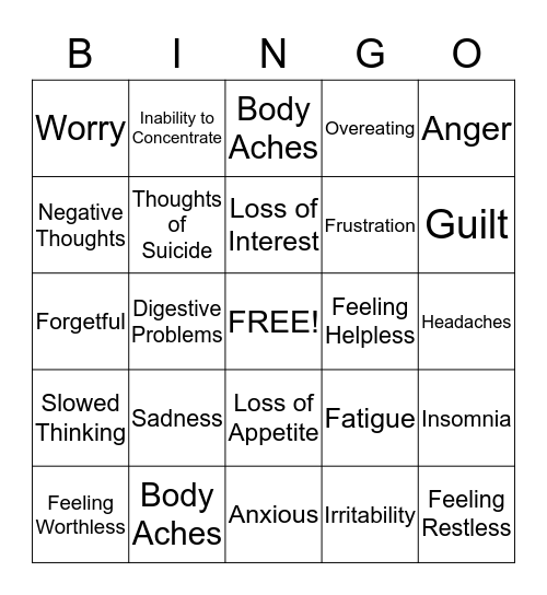 Common Signs of Depression Bingo Card
