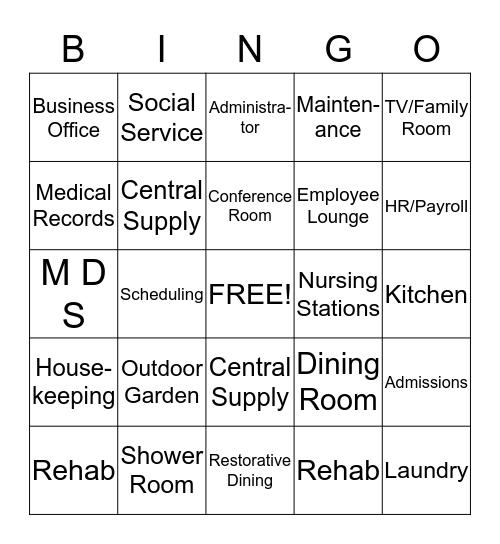 FACILITY  BINGO - Areas Bingo Card