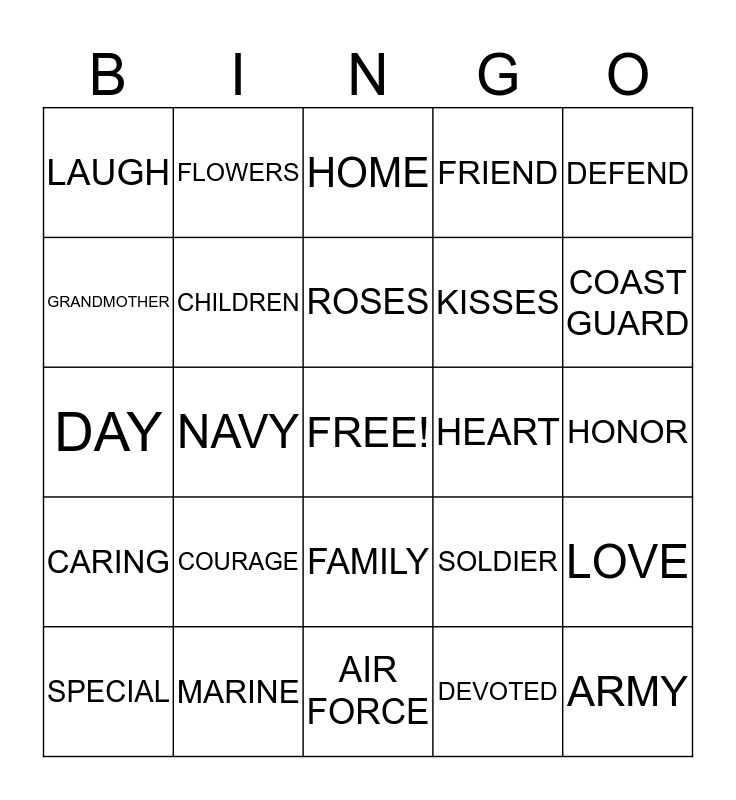 HomeFront Mother's Day BINGO Card