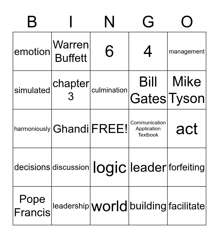 Chapter 3 Bingo Card