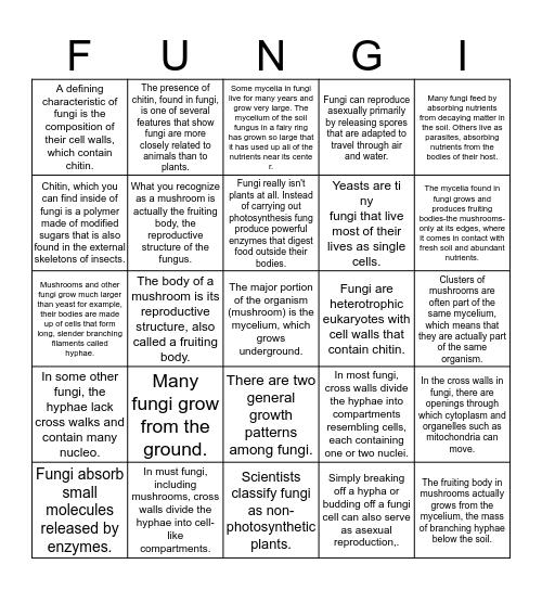 FUNGI BINGO Card