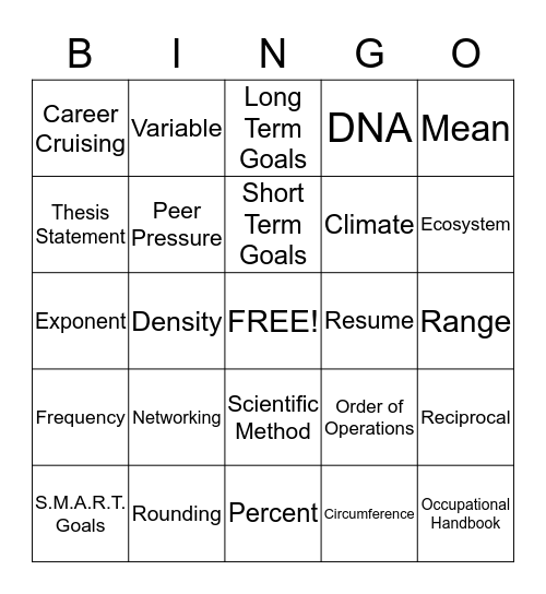 Math, Science, & Career Bingo Card