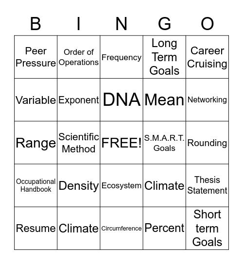 Math, Science, & Career Bingo Card