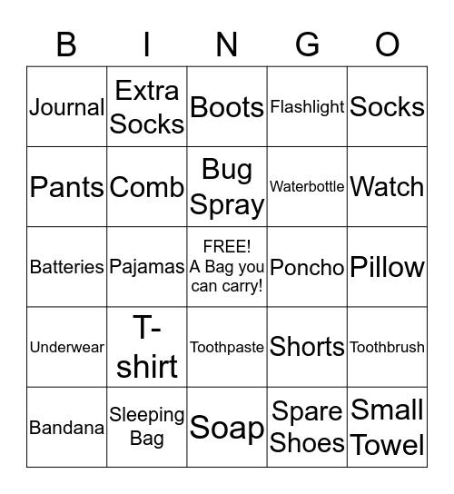 Camp Packing List Bingo Card