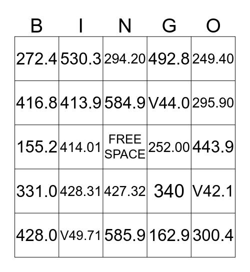 ICD 9 CM Bingo Card