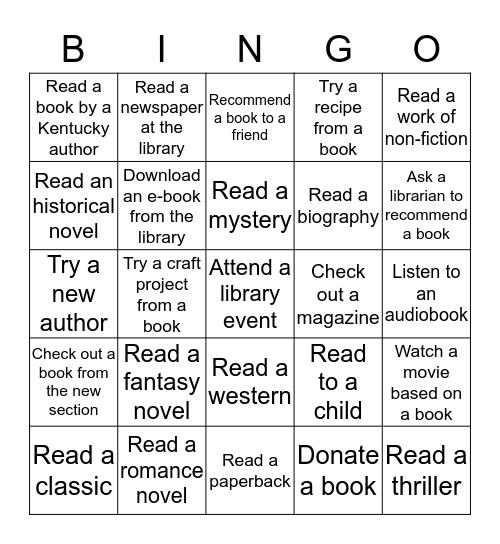 Adult Summer Reading 2015 Bingo Card