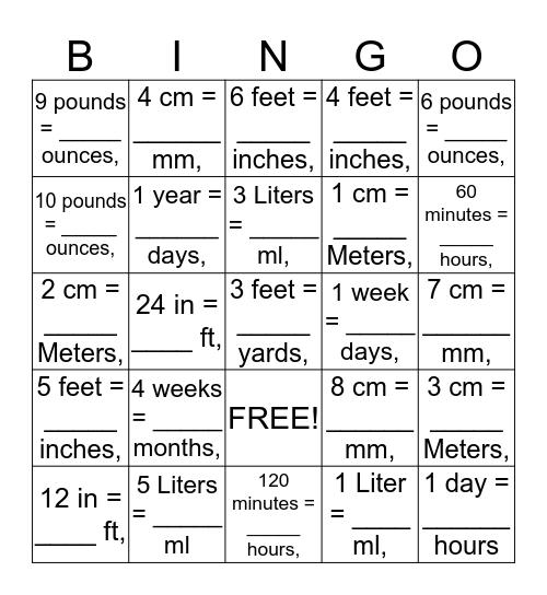 Math Conversion Bingo Card