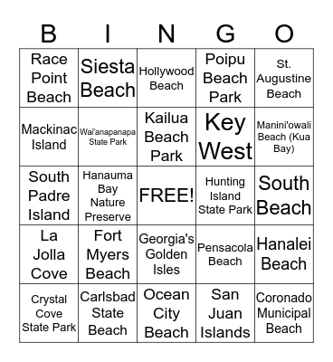 Best Beaches & Islands - USA Bingo Card