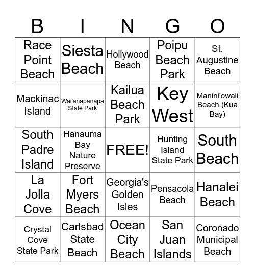Best Beaches & Islands - USA Bingo Card