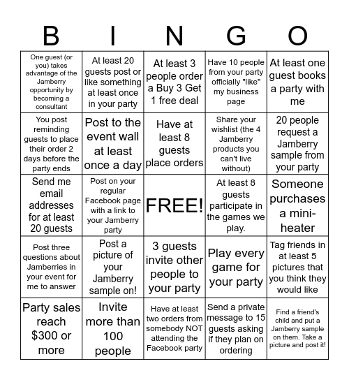 Jamberry Hostess Success! Bingo Card
