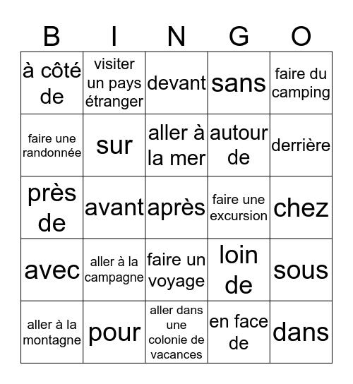 Révision de vocabulaire Bingo Card