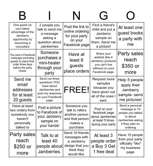 Jamberry Catalog Party Bingo Card