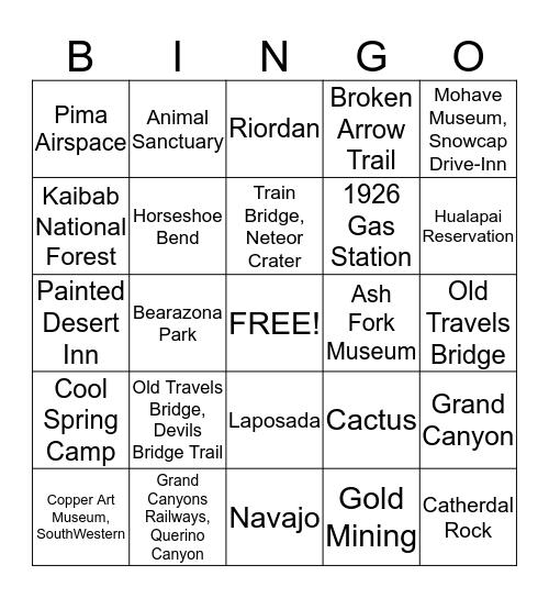 Arizona Route 66 Bingo Card