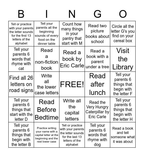 Kindergarten Summer Reading BINGO! Bingo Card