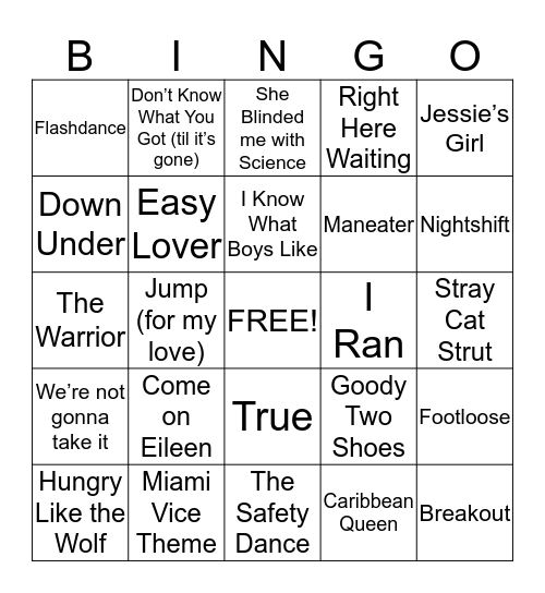 Totally Tubular 80s Bingo Card