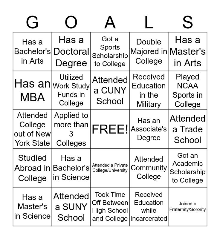 Career Fair College Bingo Card