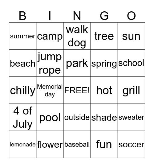 Summer and Spring Bingo Card