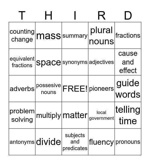 THIRD GRADE Bingo Card