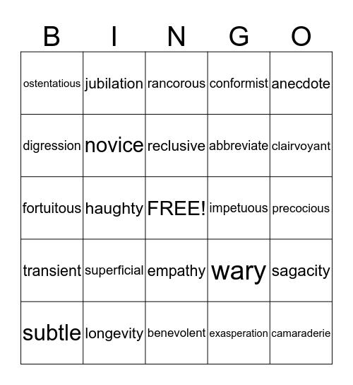 ACT VOCABULARY Bingo Card