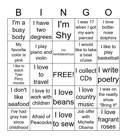 Sister Talk Bingo Card