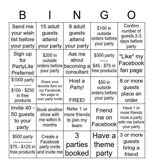 PartyLite Hostess Challange Bingo Card