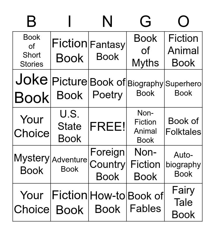 Summer Reading Progaram Bingo Card