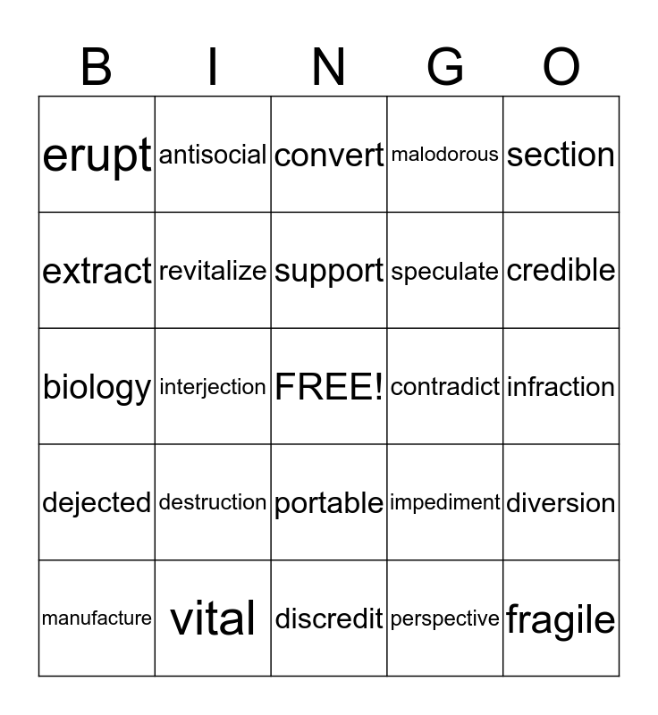 End of the Year Vocab Bingo Card