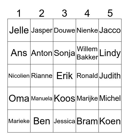 Familie Bingo Card