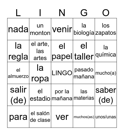 Capitulo 4 Vocabulario Bingo Card