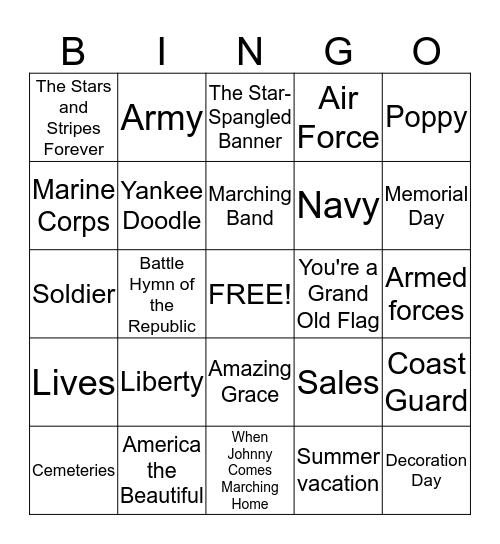 Memorial Day Bingo Card