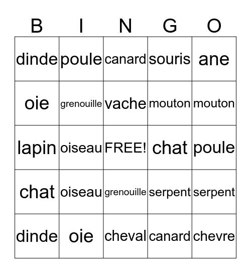 Les Animeaux a la Ferme Bingo Card