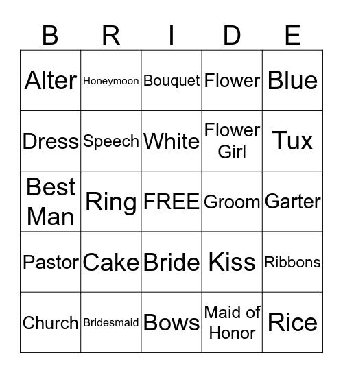 Kiley's Bridal Shower Bingo Card