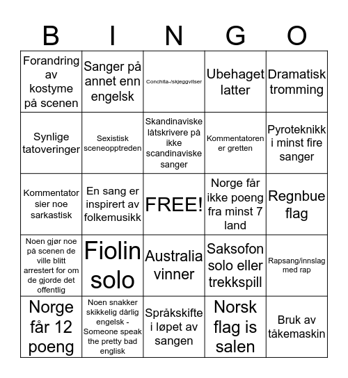 Skeiv Ungdoms ESC-kveld! Bingo Card