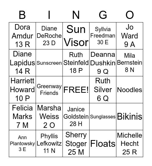 GREENWAY SWIMMING FRIENDS Bingo Card