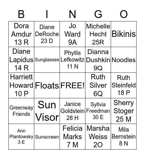 GREENWAY SWIMMING FRIENDS Bingo Card