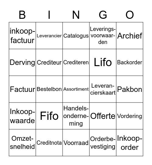 Inkomende goederen Bingo Card