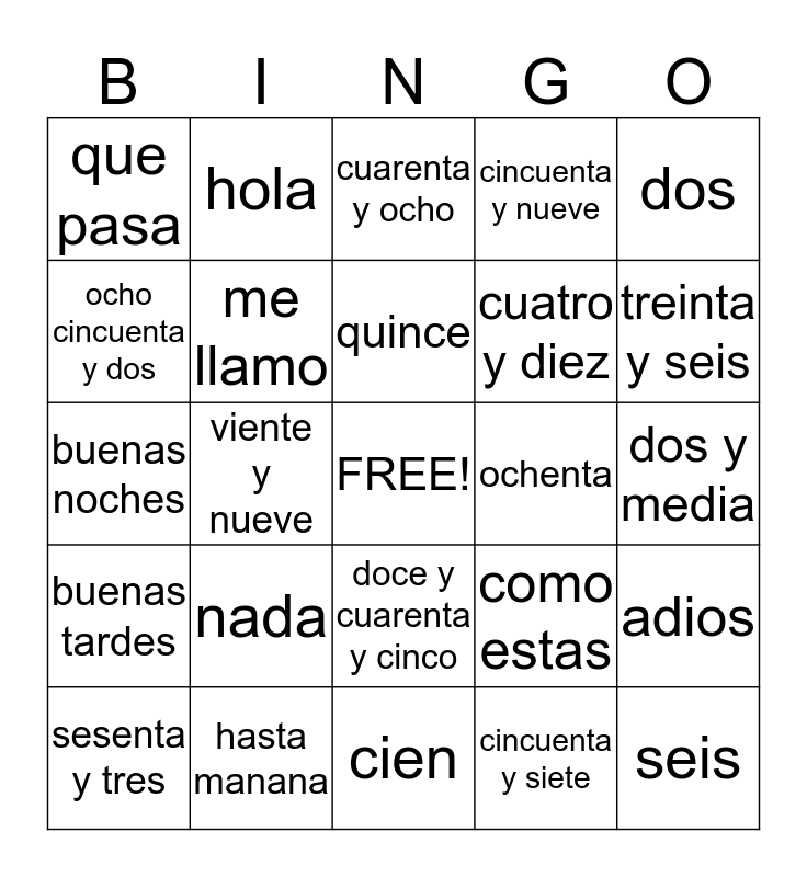 Table 1 Spanish Bingo Card