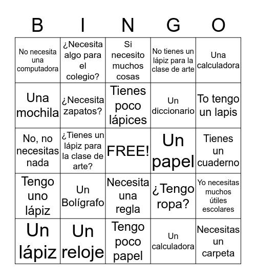 Saying what you have/need  Bingo Card