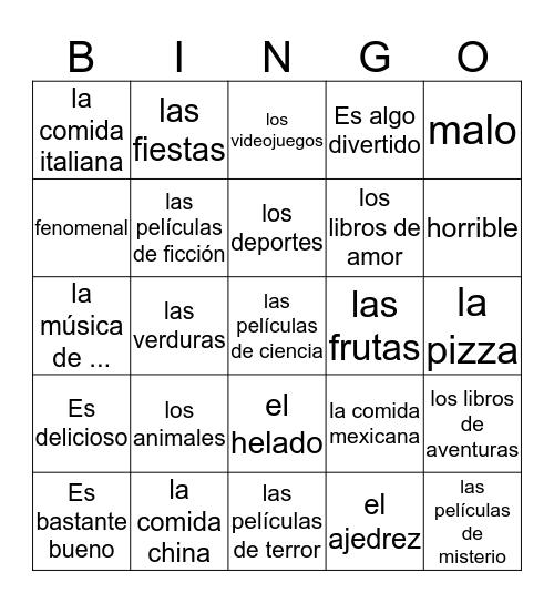 Describing Things Bingo Card
