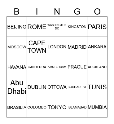 CAPITAL CITIES OF THE WORLD Bingo Card