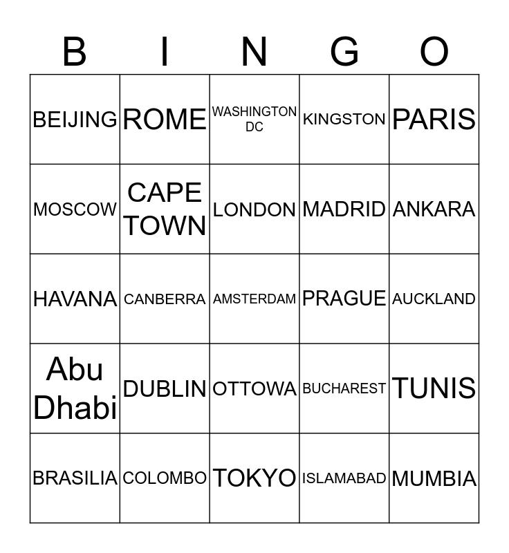 CAPITAL CITIES OF THE WORLD Bingo Card