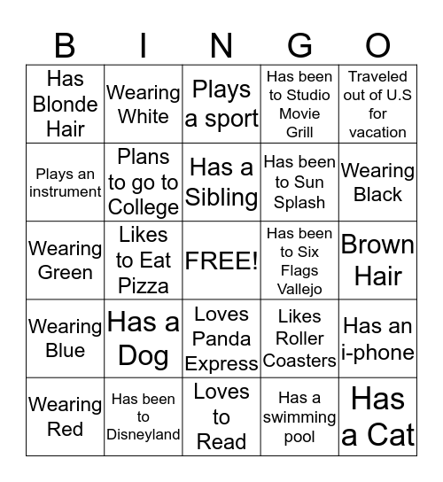 CAVA HS Bingo Card