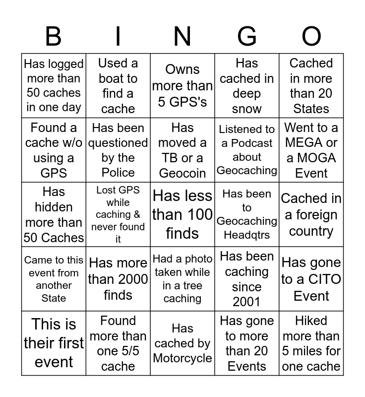 G E O   -   B I N G O Bingo Card